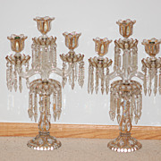 Antique Pair Baccarat Glass Candelabra
