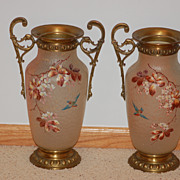 Mont Joye (Monot & Stumpf) French glass vases or lamp bases pair large ormolu-mounted C:1890