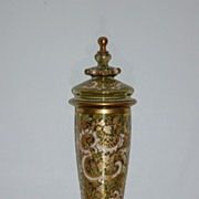 Moser Bohemian Glass Covered vase / pokal with jewels Monumental-sized C:1885