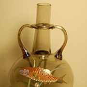 C:1900 Bohemian Moser Glass HP Fish vase