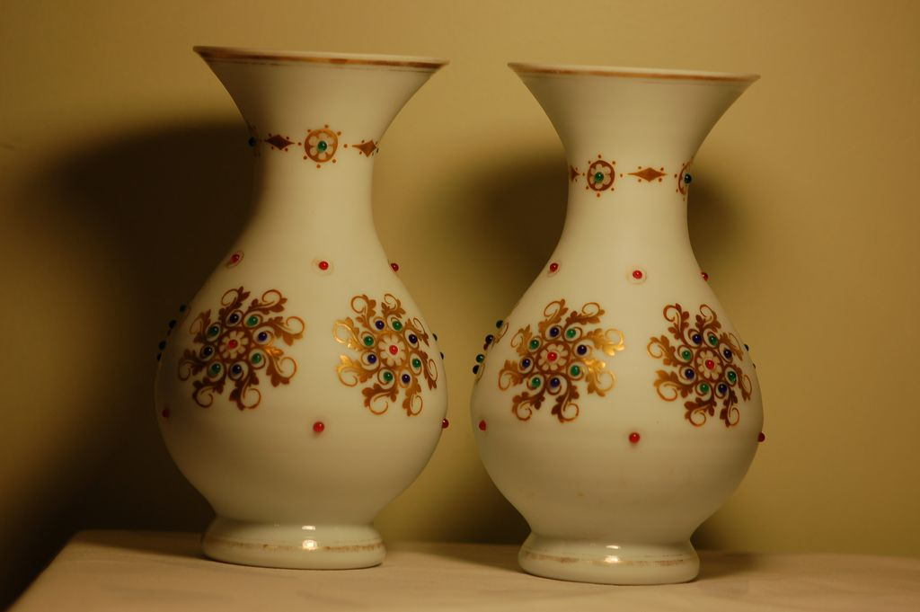 C:1885 Pair Bohemian Moser Glass Vases with Jewels