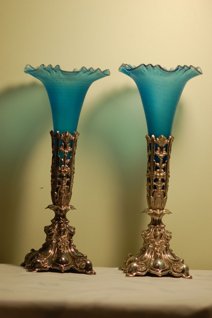 C:1910 Pair Antique Controlled-bubble Glass vases on ornate German silverplate Stands