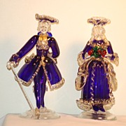 C:1950 Pair Murano Glass figurines by Barbini Cenadese