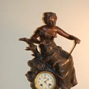 S. Marti Antique French clock with L & F Moreau Statue C:1900