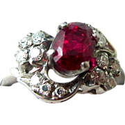 Exceptional 1.86 Carat Ruby & Diamond Ring, Palladium, c 50's - ESTATE