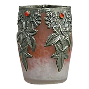 Fabulous &quot;Gem&quot; Set Vase With Pewter Overlay, Art Nouveau - FRANCE