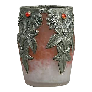 "Fabulous ""Gem"" Set Vase With Pewter Overlay, Art Nouveau - FRANCE"