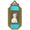 Exceptionally Fine Miniature Portrait on Ivory, Signed - 19th Century, France