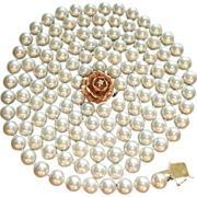 Gorgeous 50&quot; Strand 8 - 8.5mm Cultured Pearls, Custom 14K Diamond Clasp, Circa 1950 ESTAT
