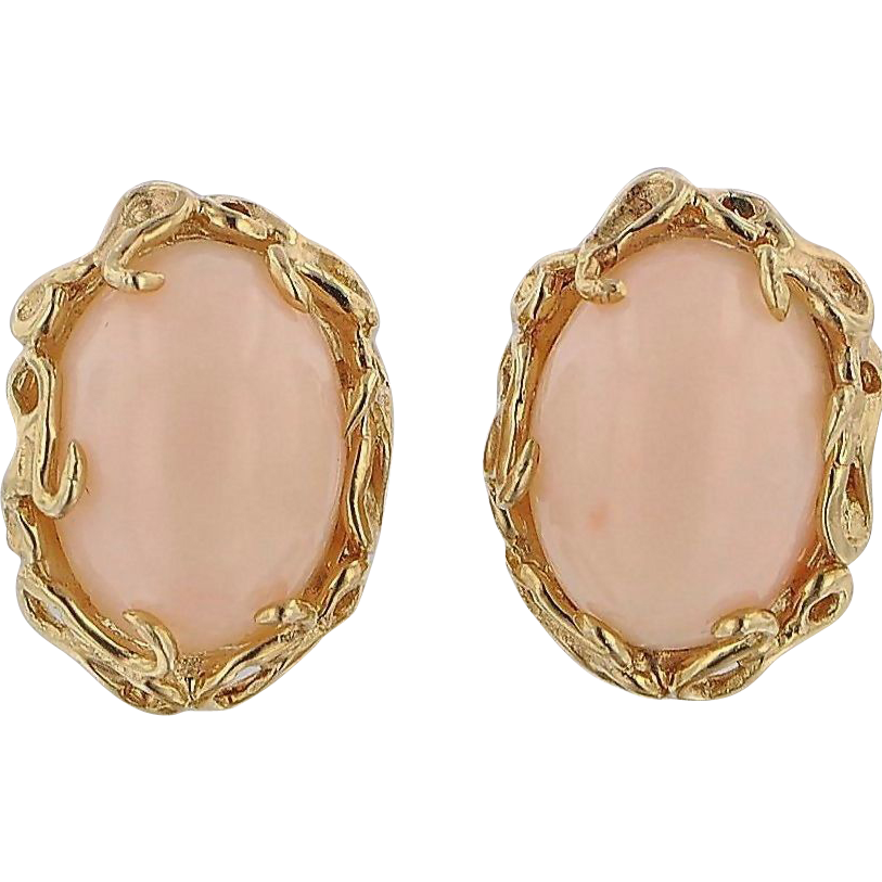 Fine Angel Skin Coral Earrings, 14K Yellow Gold - Mid 20th,  Italy
