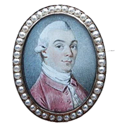 Fine Hand Painted Portrait Pin/Pendant 18K, Georgian