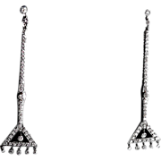Stunning Art Deco Diamond Drop Earrings, Platinum