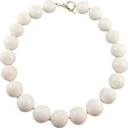20mm White Coral Bead Necklace, 18K