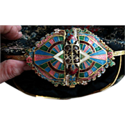 Exceptional Evening Clutch with Amazing Enameled Clasp -  early 20th Century