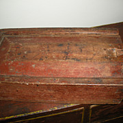 AT AUCTION Early Painted Spice Box  Original Red Paint
