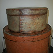 19th C Wooden Pantry Box in Original  Putty Paint
