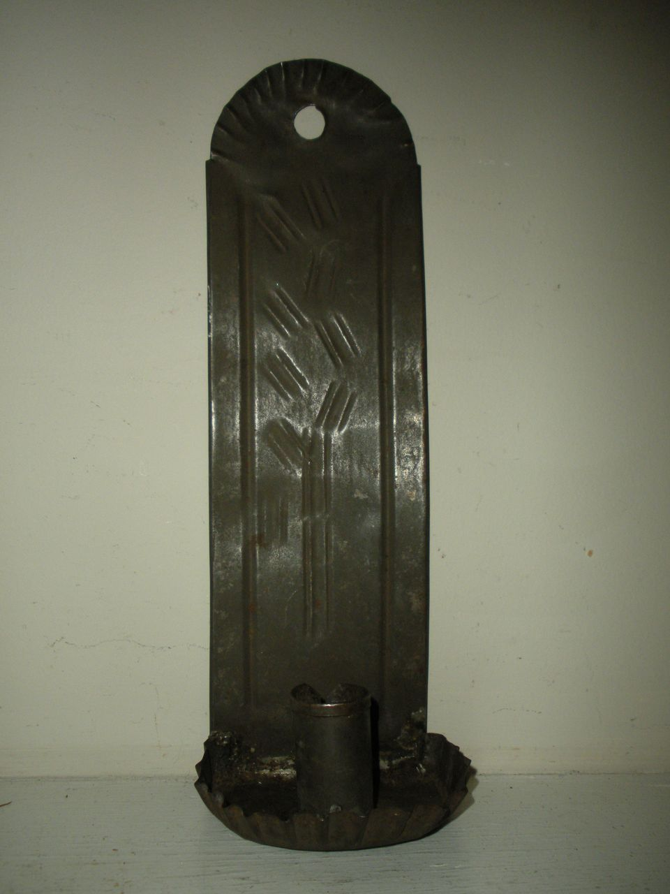 Early 19th C Tall Tin Candle Sconce