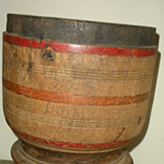 SOLD Huge Antique Mortar in Old Dry Mustard and Red Paint