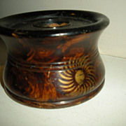 SOLD Original Paint Decorated Wooden Inkwell Circa 1860 by S. Silliman