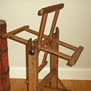 Rare  18th C Painted Wooden Yarn Winder Rose Head Nails