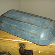 SOLD Beautiful 19th C Painted Wooden Trencher Original Blue Paint