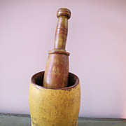 19thC Painted Mortar and Pestle Original Mustard Paint