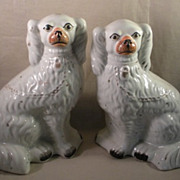 Pair 19th C Antique Staffordshire Spaniels Mantle Dogs