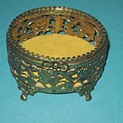 Elegant Vintage Glass top Vanity Jewelry Casket box, Pierced Roses Gold metal