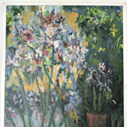 Beautiful Oil on Canvas Impressionistic Painting Striking Colors Floral, large