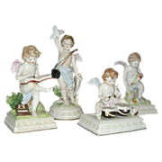 SALE Four Fabulous Scheibe Alsbach porcelain Cherub figurines -  Germany