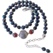 Midnight Blue FW Cultured Pearl Fire Polished Crystal Bali Thai Tribe Silver Necklace