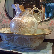 Royal Doulton Art Nouveau Pitcher & Basin Ca1902 - 22K Gold Chrysanthemums