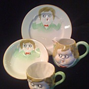 Googly Eyed Child's China Dishes 4-piece Set - Early Nippon