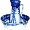 'Aubrey' Flow Blue Art Nouveau Basin & Jug/Pitcher - Royal Doulton Ironstone China