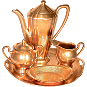 Pickard Rose & Daisy 24K Encrusted All Over Gold (AOG) Coffee/Tea Set on Tray/Under ...