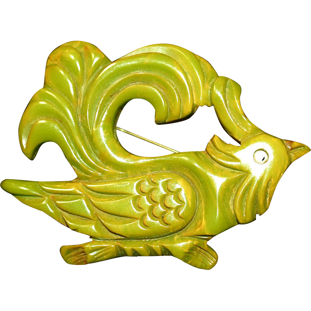 Huge Green Carved Bakelite Rooster Bird of Paradise Pin/Brooch