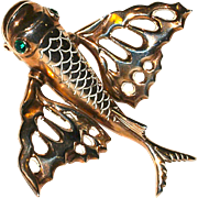 Large Nettie Rosenstein Flying Fish Vermeil Fur Clip/Brooch