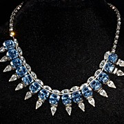3-Dimensional Brilliant Azure Blue & Clear Crystal Necklace - Hattie Carnegie