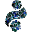 Large & Chunky 3-Dimensional - Blue & Green Japanned Brooch & Clip Ons by Arthur Weiss