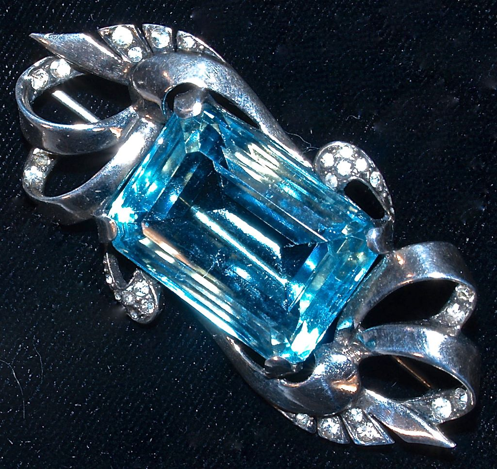 Marcel Boucher 'AQUAMARINE' Sterling Rhinestone Brooch/Pin