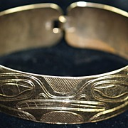 Hand Carved 10 Karat Gold Native Alaskan Tlingit Cuff/Bracelet