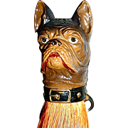 French Bulldog/Boston Terrier Composition Clothes Brush/Whisk Broom/Shoulder Brush - Half-Doll