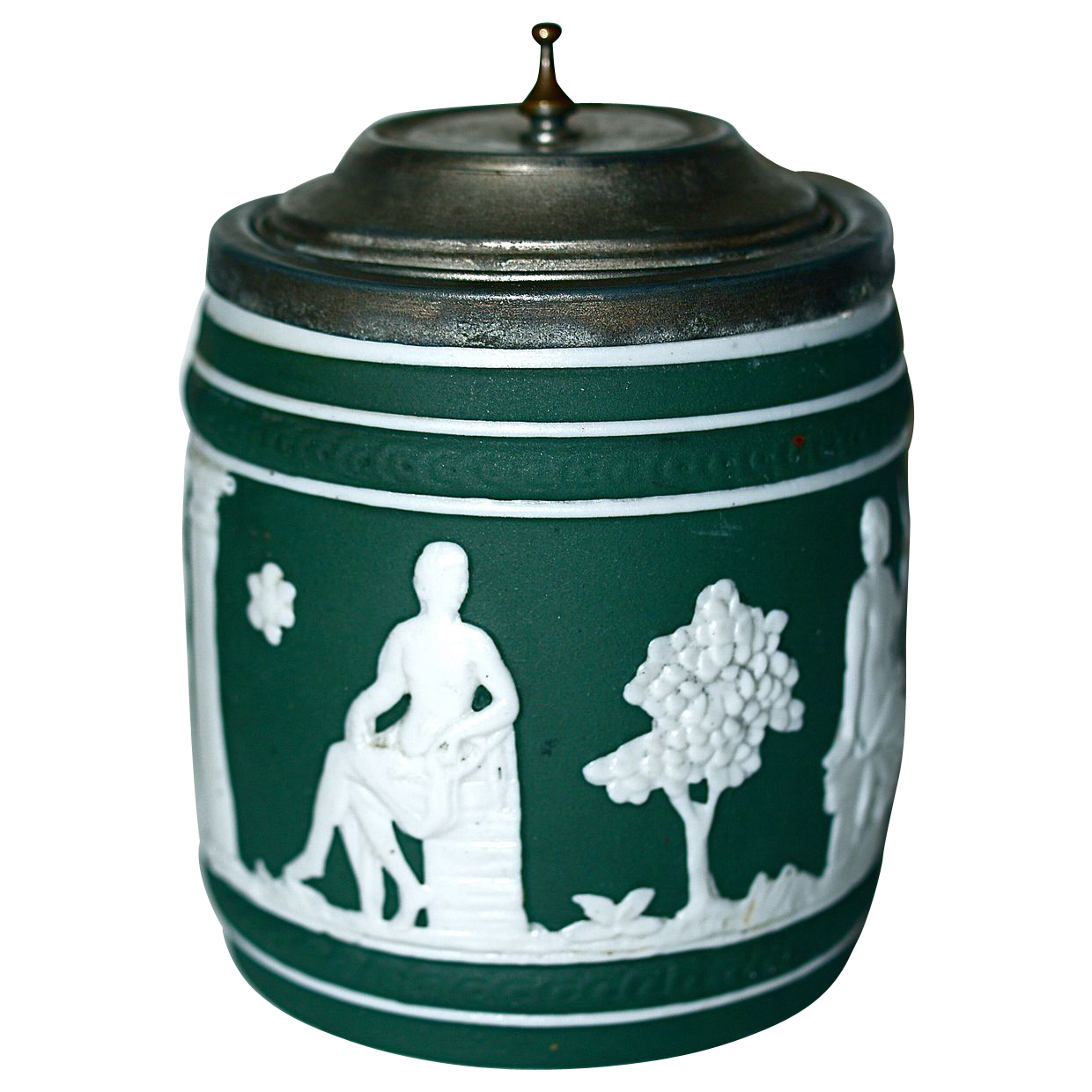 Green Jasperware Tobacco Jar/Humidor - Pewter Rim & Tip