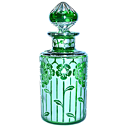 Green Acid Etched CRISTAL  NANCY FRANCE Scent Perfume Bottle