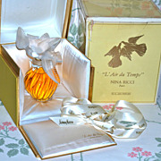 "RARE 8""  Perfume - LALIQUE FOR NINA RICCI - L'Air du Temps 8oz Perfume - Unopened with Ne"