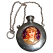 Chatelaine Sterling Scent/Perfume Bottle Depicting Enamel of Young Lady/Girl//Woman