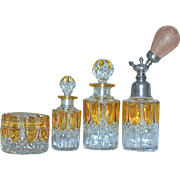 Val St. Lambert Amber to Clear Atomizer, Covered Powder, Lg & Sm Cologne 7-pc Vanity Set