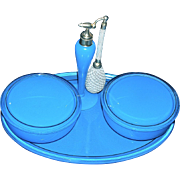Robins Egg Opaque Blue Perfume Atomizer & Twin Powder Jars on Tray by DeVilbiss
