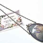22 Karat Gold Edwardian Sapphire & Enamel N�cessaire/Dance Purse/Compact has Ivory Dance Card