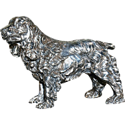 Large Sterling Silver Spaniel Dog Sculpture